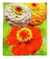 Three Zinnia Flowers. Fleece Blanket