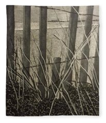 Through The Beach Fence Fleece Blanket