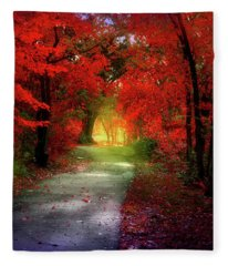 Through The Crimson Leaves To A Golden Beginning Fleece Blanket