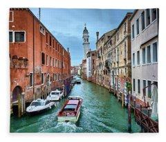Through Venetian Canals Fleece Blanket