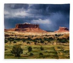 Thunderstorms Approach A Mesa Fleece Blanket