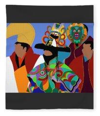 Tibetan Monks Cham Dancer Fleece Blanket
