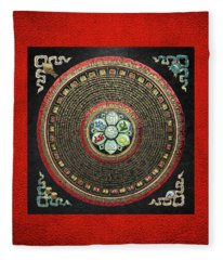 Tibetan Om Mantra Mandala In Gold On Black And Red Fleece Blanket