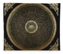 Tibetan Thangka - Green Tara Goddess Mandala With Mantra In Gold On Black Fleece Blanket