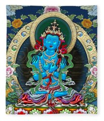 Tibetan Thangka -  Vajradhara Fleece Blanket