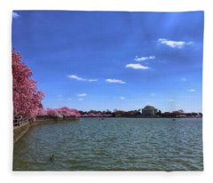 Tidal Basin Cherry Blossoms Fleece Blanket