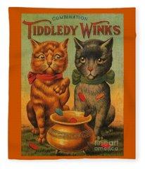 Tiddledy Winks Funny Victorian Cats Fleece Blanket