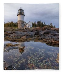Tide Pools At Marshall Point Lighthouse Fleece Blanket