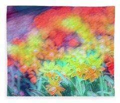 Tie Dyed Daffodils Fleece Blanket