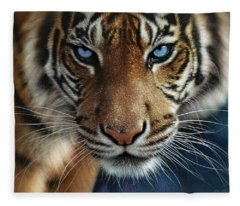 Tiger - Blue Eyes Fleece Blanket