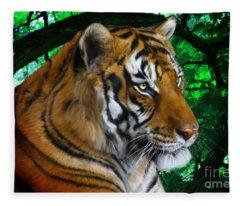 Tiger Contemplation Fleece Blanket
