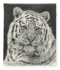 Tiger Drawing Fleece Blanket