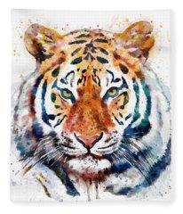 Tiger Head Watercolor Fleece Blanket
