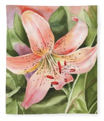 Tiger Lily Watercolor By Irina Sztukowski Fleece Blanket