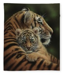 Tiger Mother And Cub - Cherished Fleece Blanket