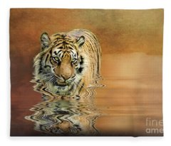 Tiger Reflections Fleece Blanket