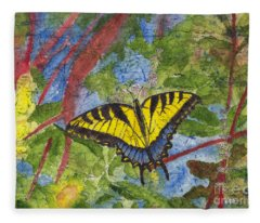 Tiger Swallowtail Watercolor Batik On Rice Paper Fleece Blanket