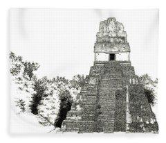 Tikal Temple I Fleece Blanket