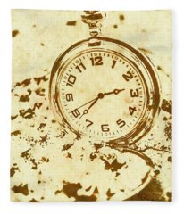 Time Worn Vintage Pocket Watch Fleece Blanket