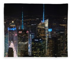 Times Square At Night From The Empire State Building Fleece Blanket