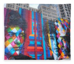 Times They Are A Changing Giant Bob Dylan Mural Minneapolis Cityscape Fleece Blanket