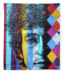 Times They Are A Changing Giant Bob Dylan Mural Minneapolis Detail 2 Fleece Blanket