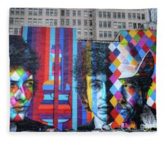 Times They Are A Changing Giant Bob Dylan Mural Minneapolis Fine Art Fleece Blanket