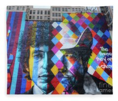 Times They Are A Changing Giant Bob Dylan Mural Minneapolis Getting Older Fleece Blanket