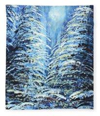 Tim's Winter Forest Fleece Blanket