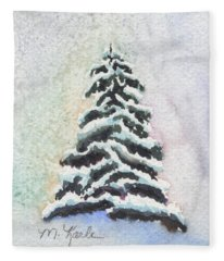 Tiny Snowy Tree Fleece Blanket