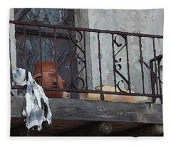 Tiny Southwest Balcony Fleece Blanket