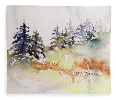 Tiny Winter Treescape Fleece Blanket