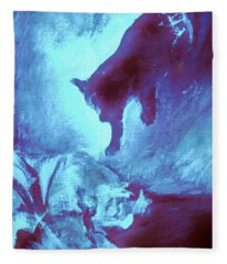 Tip Toeing On Little Cat Feet Fleece Blanket