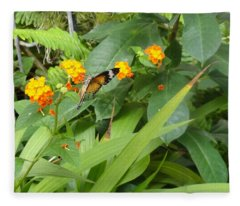 Butterfly Tipping Over Gold Flowers Fleece Blanket