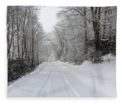 Tire Tracks In Fresh Snow Fleece Blanket