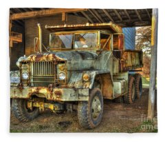Tired And Retired Us Army M930 Dump Truck Fleece Blanket