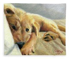 Tired Puppy Fleece Blanket