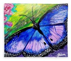 Titanium Butterfly Fleece Blanket