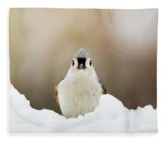 Tufted Titmouse In Snow Fleece Blanket