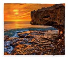 To God Be The Glory - Sunrise Over Ocean Reef Park On Singer Island Florida Fleece Blanket