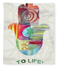 To Life Hamsa With Green Star- Art By Linda Woods Fleece Blanket