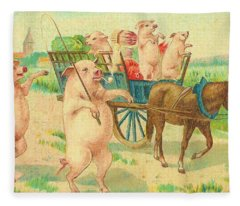 To Market To Market To Buy A Fat Pig 86 - Painting Fleece Blanket