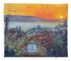 Today Sunrise Over Dilesi Greece Fleece Blanket