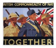 Together, World War Two  Recruitment Poster  Fleece Blanket