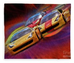 Tony Ferraro Leads Mike Louli And Keith Larson Ferrari Challenge 458 Fleece Blanket