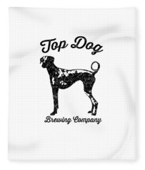 Fleece Blanket featuring the drawing Top Dog Brewing Company Tee by Edward Fielding