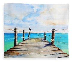 Top Of Old Pier On Playa Paraiso Fleece Blanket