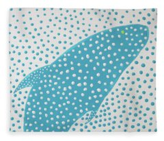 Top Of The Dotted Whale Fleece Blanket