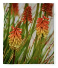 Torch Lily At The Beach Fleece Blanket