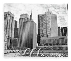 Toronto Grayscale At The Park Fleece Blanket